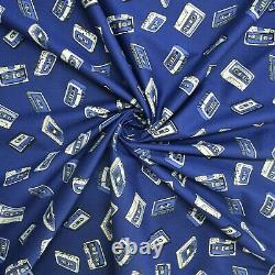 100% Craft Cotton Poplin Old School Cassette Tapes Printed Fabric Facemask D#206