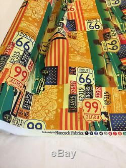 19 Metres Route 66 USA Cars Printed 100% Cotton Poplin Fabric. (Full Roll)