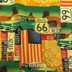 27 Metres Route 66 USA Cars Printed 100% Cotton Poplin Fabric. (Full Roll)