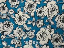 27 Metres (full roll) Blue Abstract Roses Printed 100% Cotton Poplin Fabric