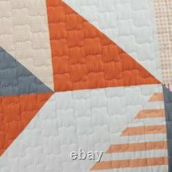 3 Piece Fabric Full Coverlet Set with Geometric Print, Gray and Orange