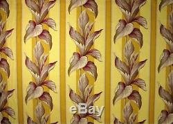 3 Yd Out Print FULL SWING Vintage Style Banana Bacal Yellow Barkcloth Fabric
