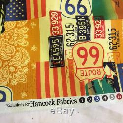 31 Metres Route 66 USA Cars Printed 100% Cotton Poplin Fabric. (Full Roll)