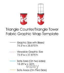 39 Triangle Fabric Tension Promotion Counter Fabric Pop UP Display Stand Table