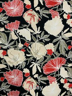 51 Yard Full Roll Black & Red Forest Floral Printed 100% Cotton Poplin Fabric
