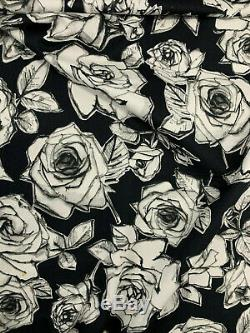 53 Metres (full roll) Black Abstract Roses Printed 100% Cotton Poplin Fabric