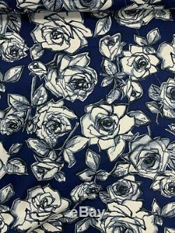 53 Metres (full roll) Navy Abstract Roses Printed 100% Cotton Poplin Fabric