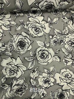 61 Metres (full roll) Grey Abstract Roses Printed 100% Cotton Poplin Fabric