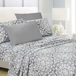 American Home Collection Deluxe 4 Piece Printed Sheet Set Of Brushed Fabric, Dee