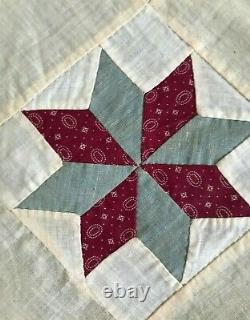 Antique & Vintage Fabric Star Quilt Top-calico-cotton Prints-feed Sack-hand Stit