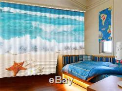 Beauty Sea Full Waves 3D Curtains Blockout Photo Printing Curtains Drape Fabric