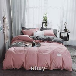 Bedding Set Soft Warm Cotton A/B Brushed Fabric Linens 4pcs King Queen Size