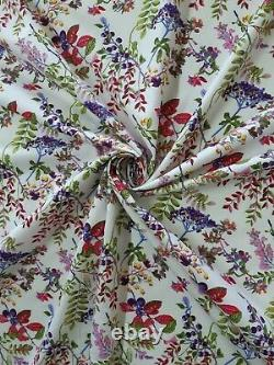 Berry & Leaves Cotton Print Fabric Poplin 45 Wide Crafting Dressing D#172