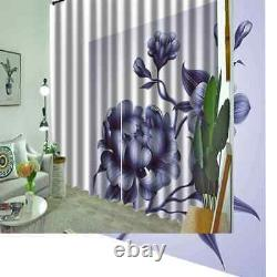 Blue flowers full of love aura Printing 3D Blockout Curtains Fabric Window