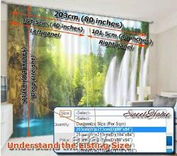 Cerulean Full Flowers 3D Curtains Blockout Photo Printing Curtains Drape Fabric