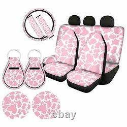 Cow Print Accessories for Car Seat Covers Full Set 11 Pcs Pink Pink Cow Print