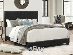 Crown Mark Erin Black Faux Leather Upholstery Bed King Size Bedroom Furniture