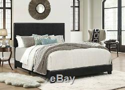Crown Mark Erin Faux Leather Bed, Black, Multiple Sizes