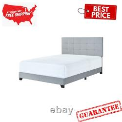 Crown Mark Florence Gray Panel Bed, Full, Upholstered Beds, Mattress not included