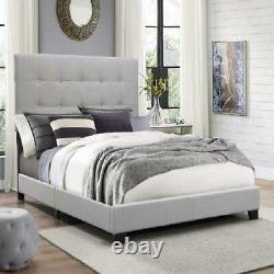 Crown Mark Florence Gray Panel Bed with Headboard King Queen Full Twin