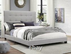 Crown Mark Florence Gray Upholstered Panel Bed Full size