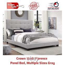 Crown Mark Florence Upholstered Button-Tufted Headboard Gray Fabric Panel Bed