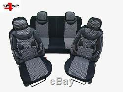 Deluxe Black Leatherette & Printed Black and Grey Fabric Full Set Seat Covers