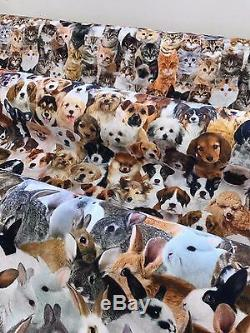 Designer Digital Printed 100% Cotton Fabric Pets Cats Dogs Rabbits Faces