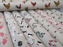 Designer Natural Animal Prints Linen Look Fabric Curtain Upholstery Quilting