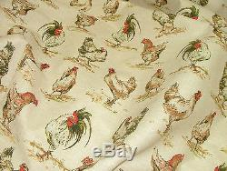 Designer Vintage Linen Look Chicken Hens Animal Print Curtain Upholstery Fabric