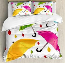 Fabric Duvet Cover Set with Pillow Shams Colorful Umbrellas Leaf Print