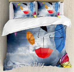 Fabric Duvet Cover Set with Pillow Shams Flying Umbrellas Clouds Print