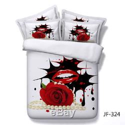 Flame Red Lips 3D Printing Duvet Quilt Doona Covers Pillow Case Bedding Sets