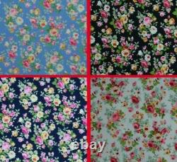 Floral Rose Cotton Printed Fabric 45 Wide Oeko-Tex Dressing Crafting D#21