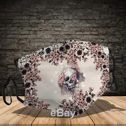 Flower Skull Reusable Fabric Protective Full Printed Mouth Face Mask