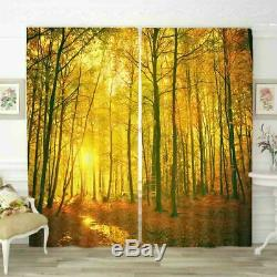 Full Happiness Sun Wood 3D Curtain Blockout Photo Printing Curtains Drape Fabric