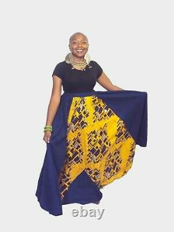 Full Length Denim Skirt Mixed With African Print Fabric With Elastic Waist