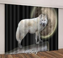 Full Moon Wolf 3D Blockout Mural Printing Curtain Fabric Window Curtains Drapes