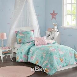 Full/Queen Darya Printed Mermaid Comforter Set Micro Fiber Aqua Pink Mi Zone Kid