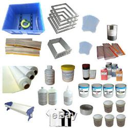 Full Set 4 Color Screen Printing Kit Mesh Fabric Squeegee Ink Materials Supply