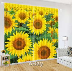 Full Sunflower Golden 3D Curtain Blockout Photo Printing Curtains Drape Fabric