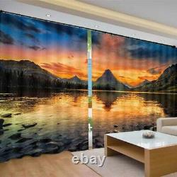 Full and unique orange sunset Printing 3D Blockout Curtains Fabric Window