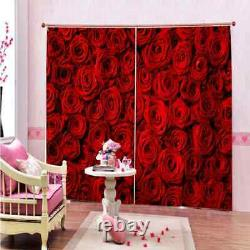 Full screen of beautiful red roses Printing 3D Blockout Curtains Fabric Window