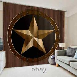 Full star plated with gold pigment Printing 3D Blockout Curtains Fabric Window
