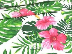 HIBISCUS FLOWER tropical PINK GREEN LARGE PRINT FABRIC 100%COTTON 160cm wide