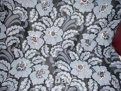 James Brindley Embroidered/Printed Black Silk Fabric Floral full width x 3.00m