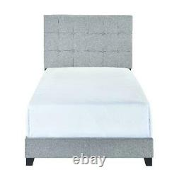 King Size Bed Wood Frame Tufted Head Board Crown Mark Florence Gray Compact New