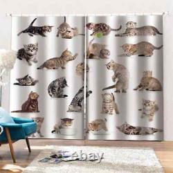 Lovely cat with just a full moon Printing 3D Blockout Curtains Fabric Window