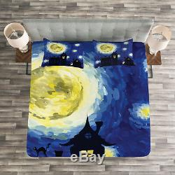 Moon Quilted Bedspread & Pillow Shams Set, Country Houses Full Moon Print