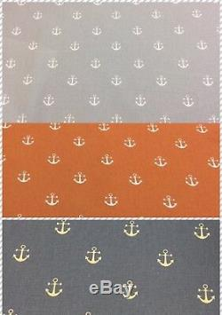 NEW Fryetts ANCHOR Nautical Cotton Print Fabric. Upholstery/Curtains/Crafts